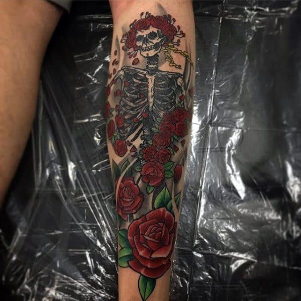 Back Of Leg Distinctive Male Grateful Dead Tattoo Designs