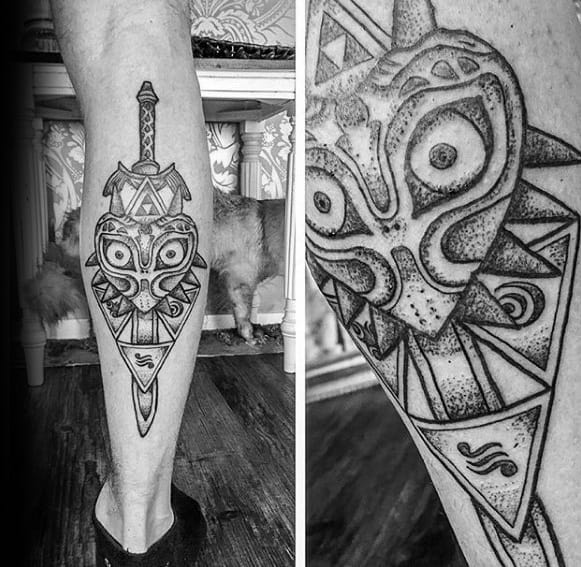 Back Of Leg Dotwork Majoras Mask Guys The Legend Of Zelda Tattoos