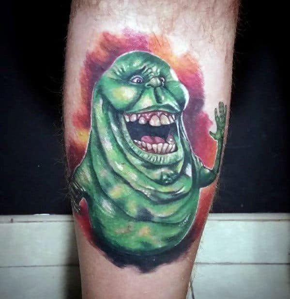 Back Of Leg Ghostbusters Male Tattoo Designs