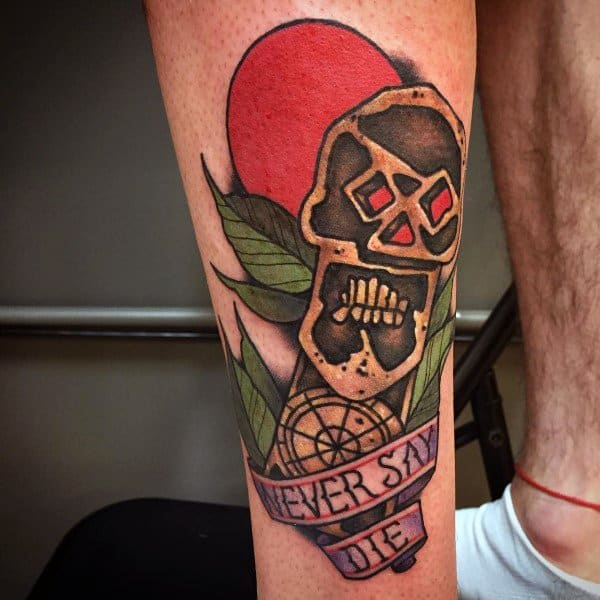 Back Of Leg Goonies Traditional Old School Tattoo