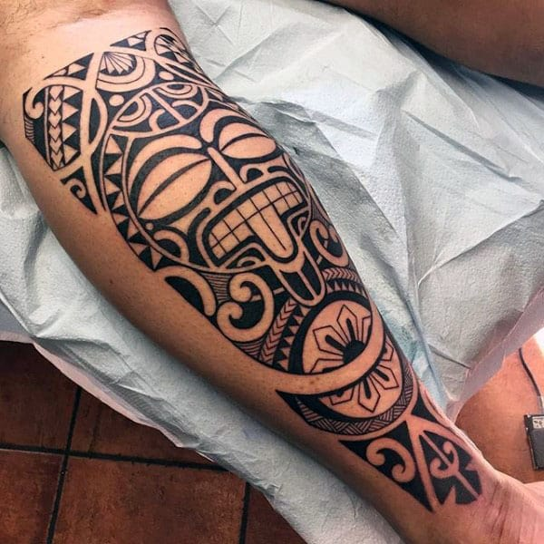 Back Of Leg Guys Hawaiian Tribal Tattoo Design Ideas