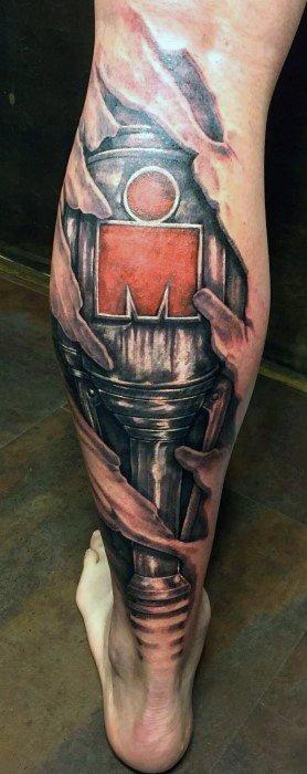 Back Of Leg Guys Ironman Tattoo Design Ideas