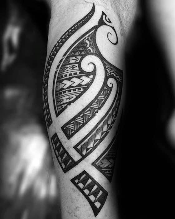 Back Of Leg Guys Negative Space Tribal Polynesian Tattoos