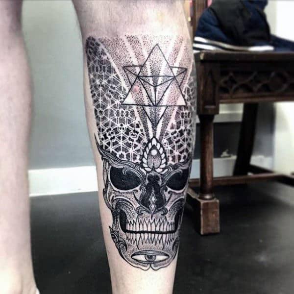 Back Of Leg Guys Pointillism Skull Tattoo Ideas