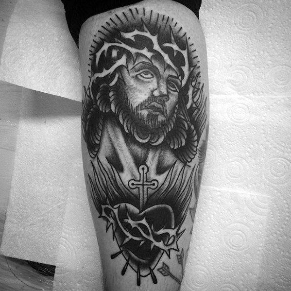 Back Of Leg Guys Traditional Jesus Eternal Heart Tattoo Ideas