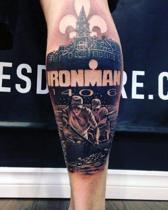 Back Of Leg Ironman Canoe Guys Tattoo Ideas