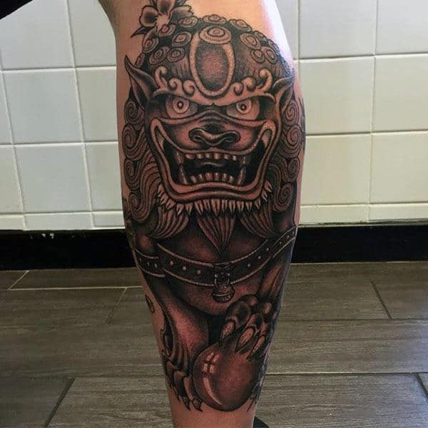 Back Of Leg Male Foo Dog Tattoo Ideas