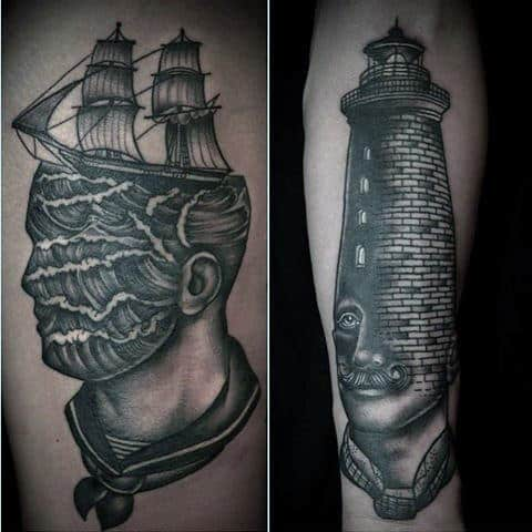 Back Of Leg Male Old Sailor Tattoo