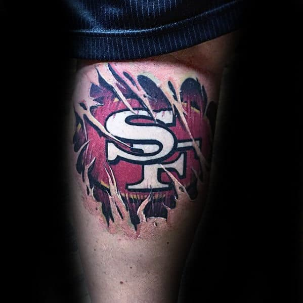 Back Of Leg Male San Francisco 49ers Ripped Skin Logo Tattoo Designs