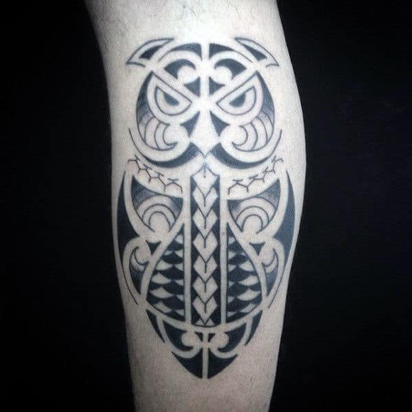 Back Of Leg Male Tribal Owl Polynesian Tattoo Designs