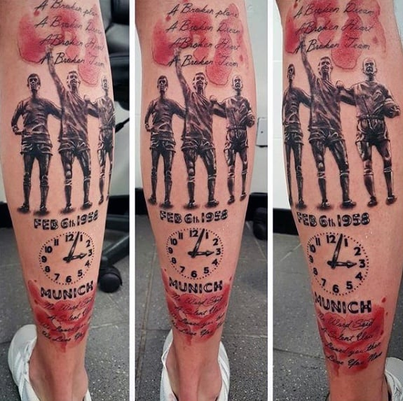 Back Of Leg Manchester United Tattoo Designs For Guys