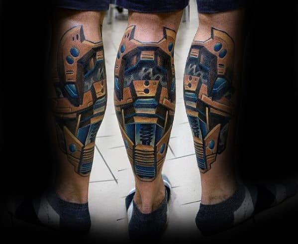 dee2cfa43 50 3D Leg Tattoo Designs For Men - Manly Ink Ideas