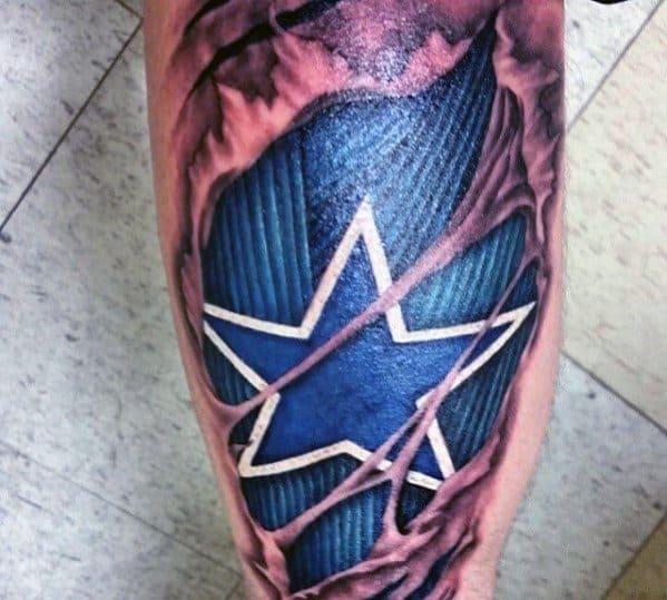 Back Of Leg Mens Cool 3d Star Tattoo Ideas