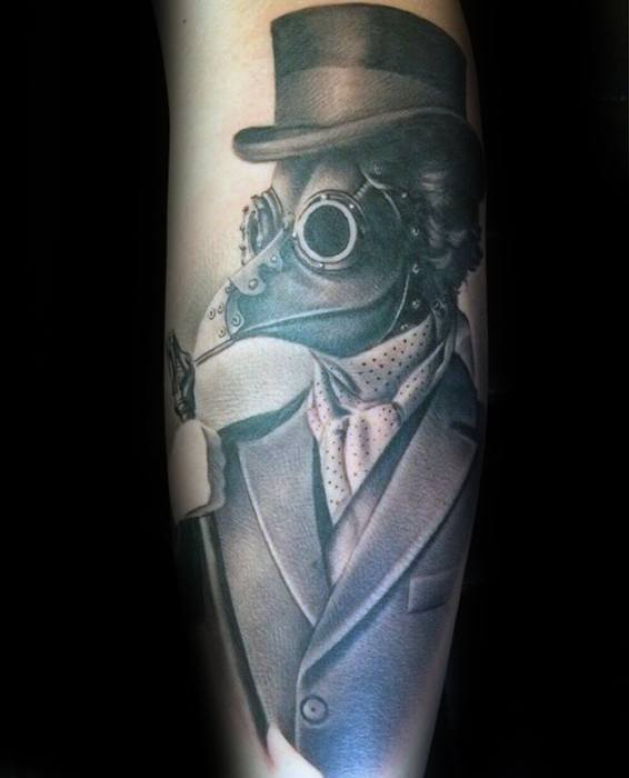 Back Of Leg Mens Plague Doctor Tattoo Design Ideas