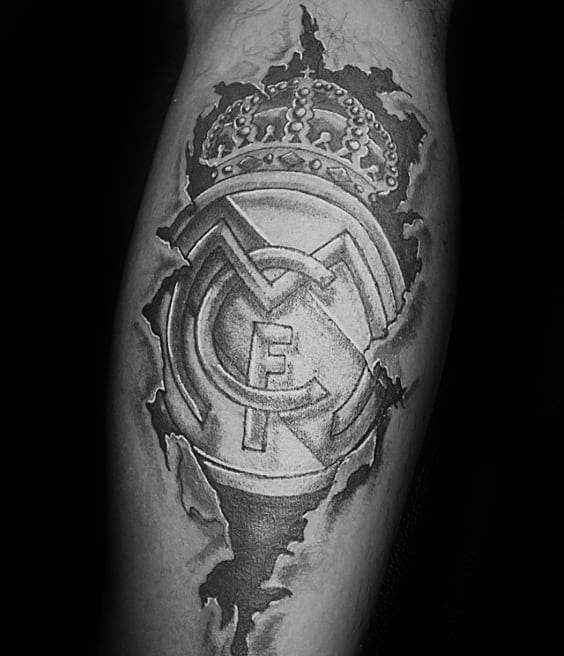 Back Of Leg Real Madrid Tattoos Guys