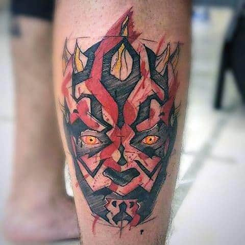 Back Of Leg Sketched Darth Maul Mens Tattoo Ideas