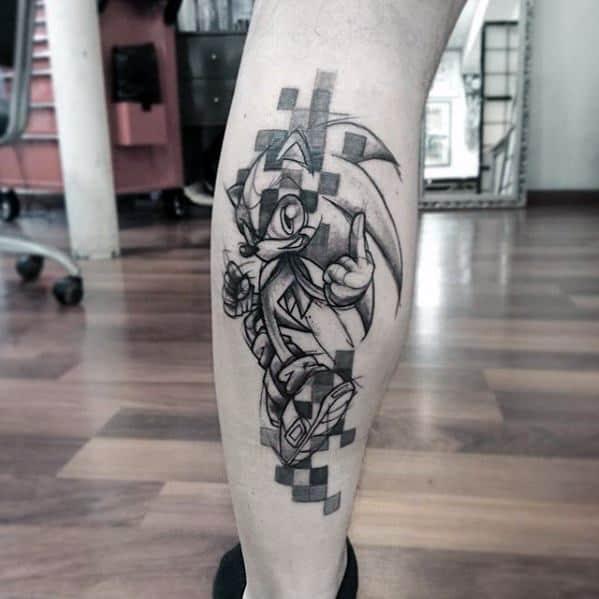 Back Of Leg Sonic Video Game Pixel Mens Tattoo Designs