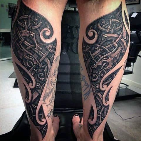 Back Of Leg Tribal Knot Mens 3d Wood Carving Tattoos