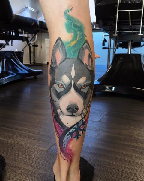 Back Of Leg Watercolor Husky Tattoos For Men