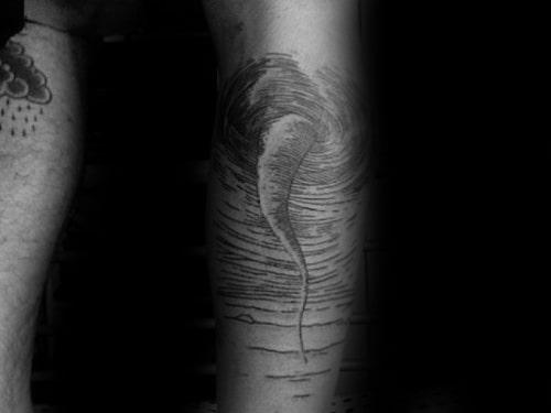 Back Of Leg Woodcut Guys Tornado Tattoo Design Inspiration