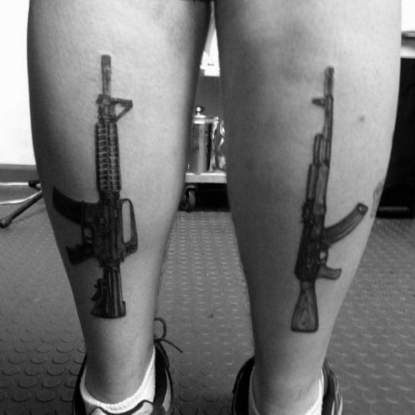 Back Of Legs Ar 15 Rifle Mens Tattoos