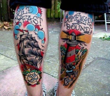 back-of-legs-hold-fast-traditional-lighthouse-mens-tattoos