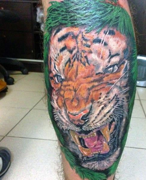 Back Of Legs Tiger Eye Tattoo For Men