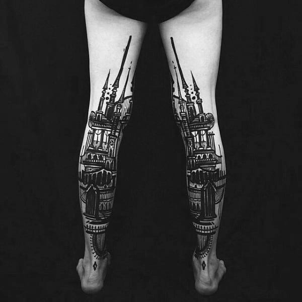 Back Of Legs Vintage Building Tattoos For Gentleman
