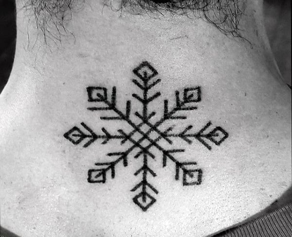 Back Of Neck Black Ink Linework Snowflake Tattoos For Guys