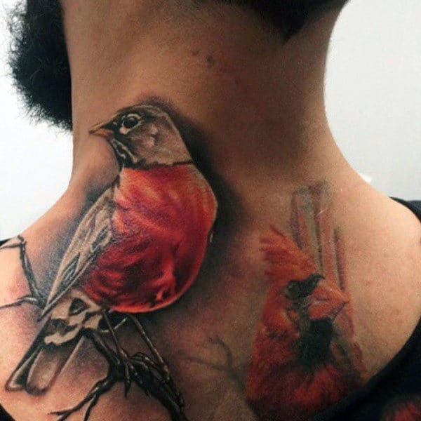 Back Of Neck Cardinal Realistic Mens Tattoo Ideas