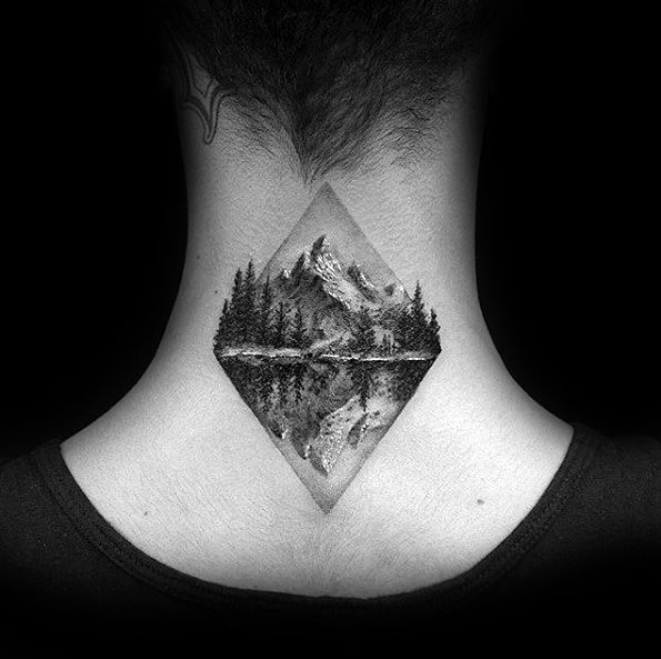 Back Of Neck Detailed Realsitic Nature Landscape Guys Tree Line Tattoos