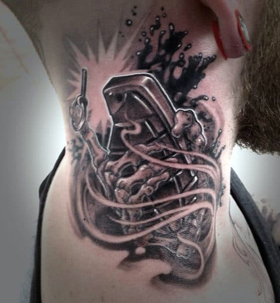 Back Of Neck Grenade Tattoo Ideas For Men