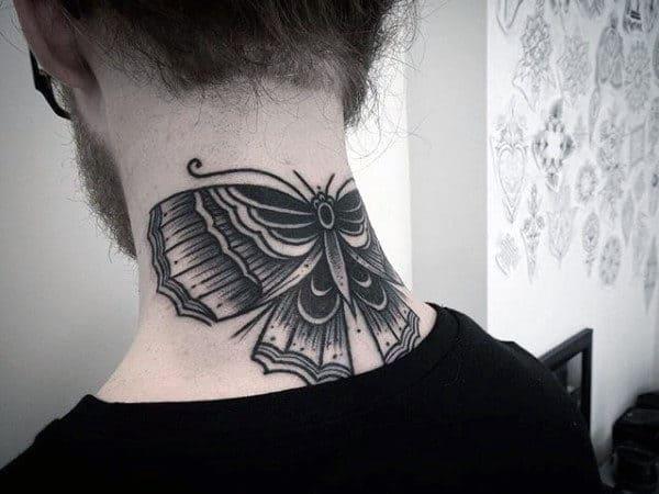 Back Of Neck Guys Moth Tattoo Ideas