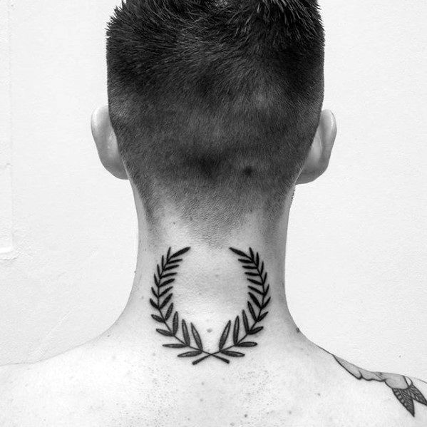 Back Of Neck Laurel Wreath Tattoo On Men