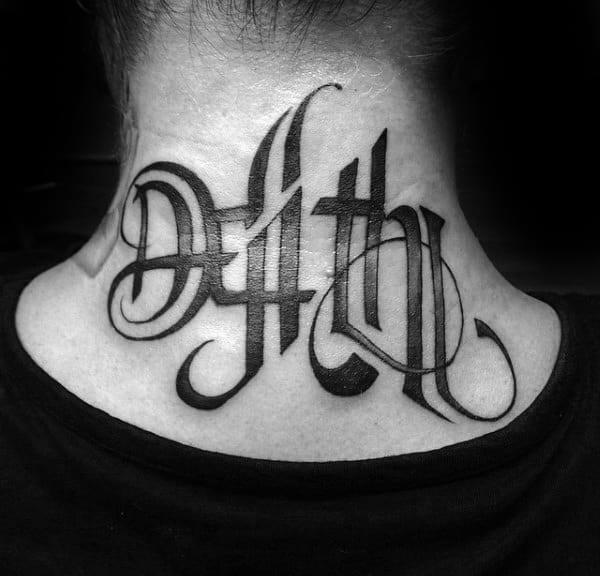 Back Of Neck Life Death Male Tattoo Ambigram