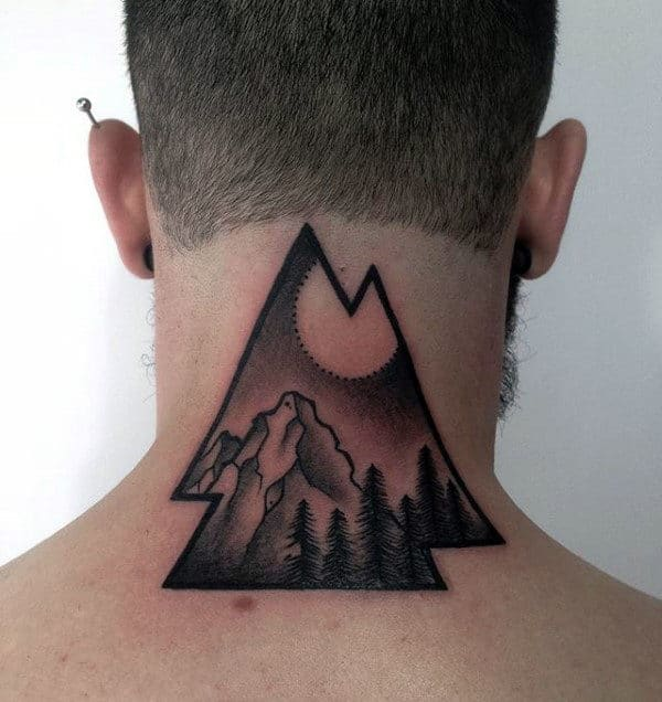 Back Of Neck Mens Nature Lanscape Unique Valknut Tattoos