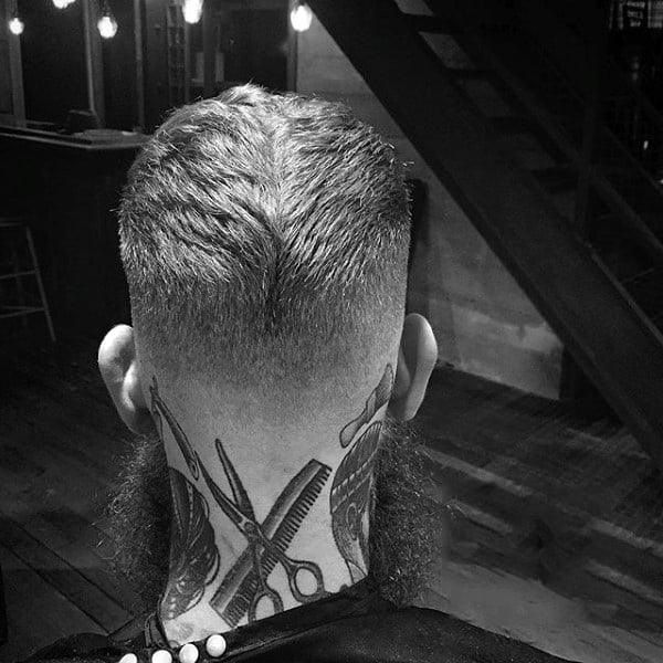 Back Of Neck Scissors And Comb Mens Barber Tattoos