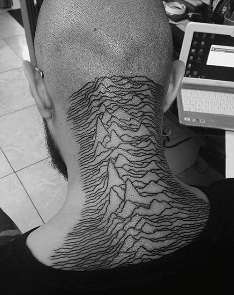 Back Of Neck Thin Line Tattoos For Men