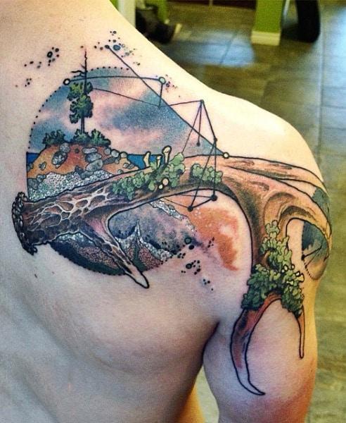 Back Of Shoulder Antlers Tattoo For Men