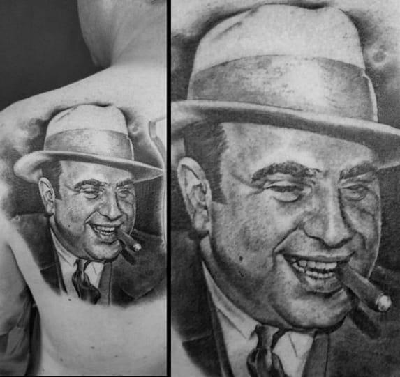Back Of Shoulder Creative Al Capone Tattoos For Men