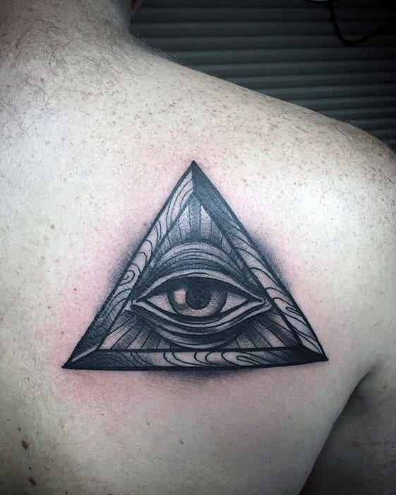 Back Of Shoulder Guys Eye Of Providence Tattoo Inspiration