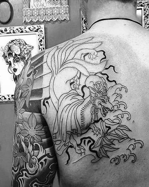 Back Of Shoulder Guys Kitsune Tattoos