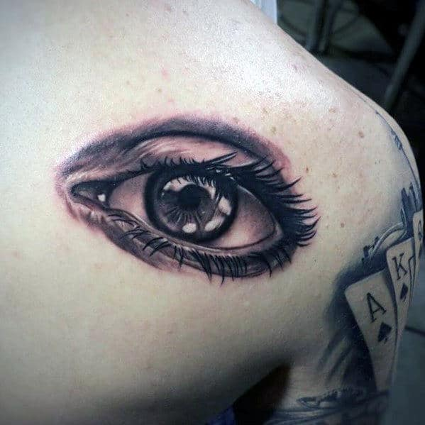 Back Of Shoulder Mens Detailed Realistic Eye Tattoo