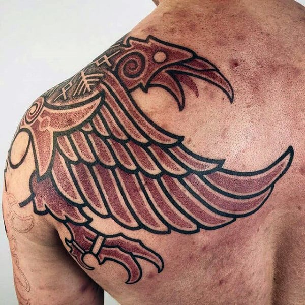 Back Of Shoulder Nordic Rune Tattoo On Man