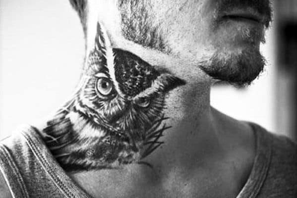 Owl Back Of The Neck Men's Tattoo