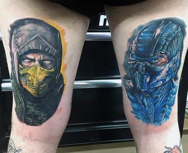 Back Of Thigh Guys Mortal Kombat Tattoos