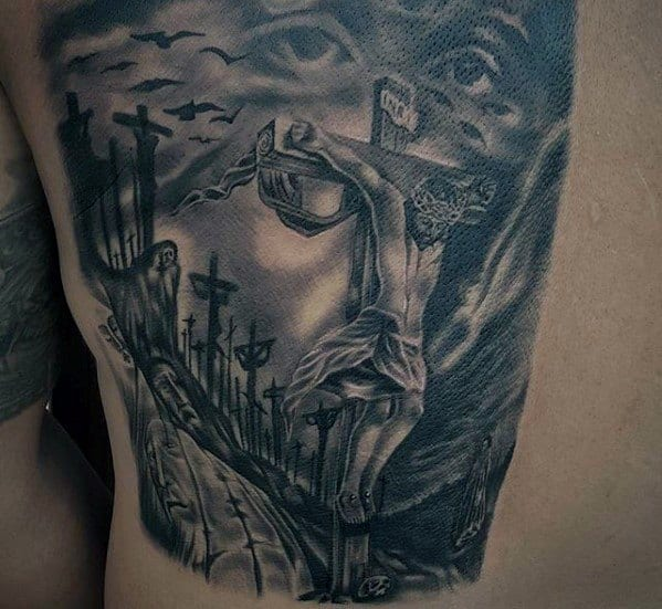 60 3d jesus tattoo designs for men religious ink ideas for Jesus back tattoos