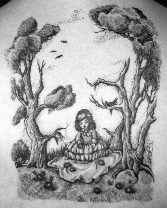Back Optical Illusion Guys Skull Tree Tattoo Designs