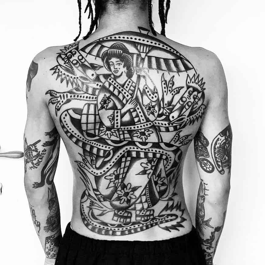 Back Piece Double Dragon Geisha Tattoo