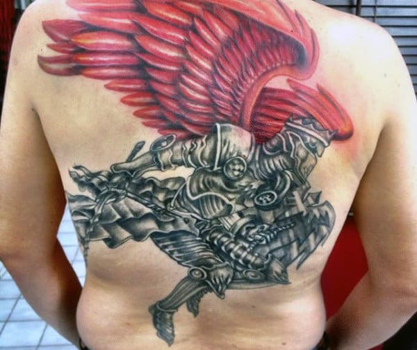 Back Red Winged Knight Tattoo For Males